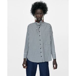 Zara Tie Neck Gingham Shirt